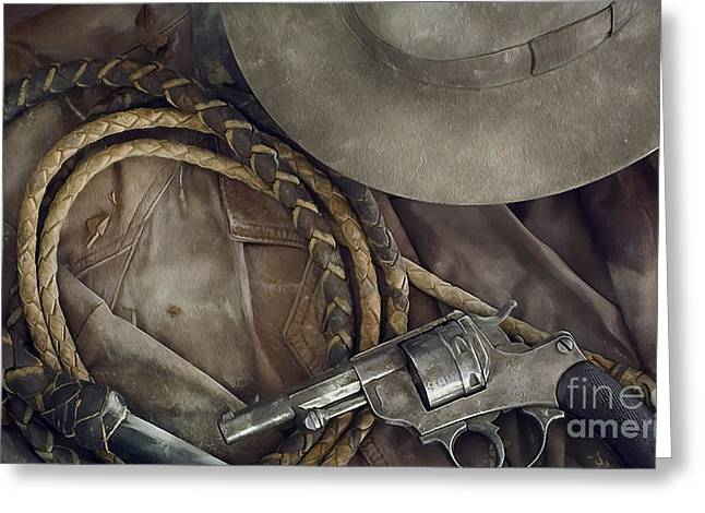 Western Mixed Media Greeting Cards - The Old West Painting Greeting Card by Jon Neidert