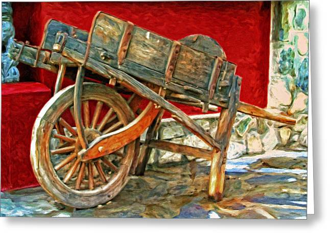 Hand Made Paintings Greeting Cards - The Old Wheelbarrow Greeting Card by Michael Pickett