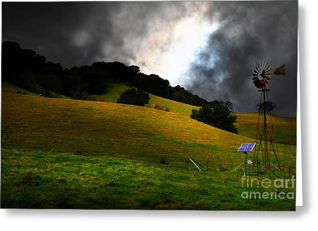 Mystical Landscape Greeting Cards - The Old Windmill - 5D21059 Greeting Card by Wingsdomain Art and Photography