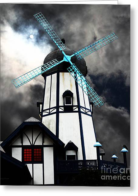 Psychedelic Van Greeting Cards - The Old Windmill 5D24398 Greeting Card by Wingsdomain Art and Photography