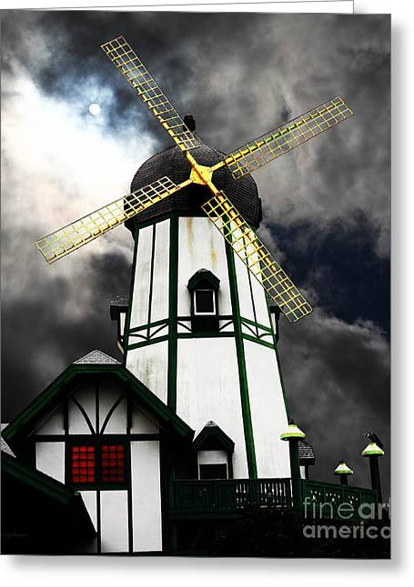 Psychedelic Van Greeting Cards - The Old Windmill 5D24398m180 Greeting Card by Wingsdomain Art and Photography