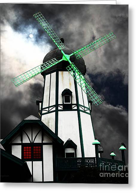 Psychedelic Van Greeting Cards - The Old Windmill 5D24398m80 Greeting Card by Wingsdomain Art and Photography
