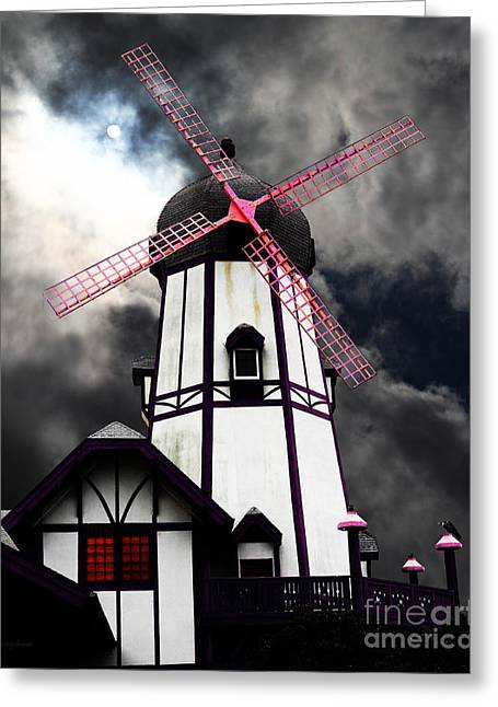 Psychedelic Van Greeting Cards - The Old Windmill 5D24398p180 Greeting Card by Wingsdomain Art and Photography