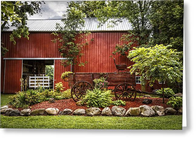 Red Roofed Barn Greeting Cards - The Old Wood Cart Greeting Card by Debra and Dave Vanderlaan