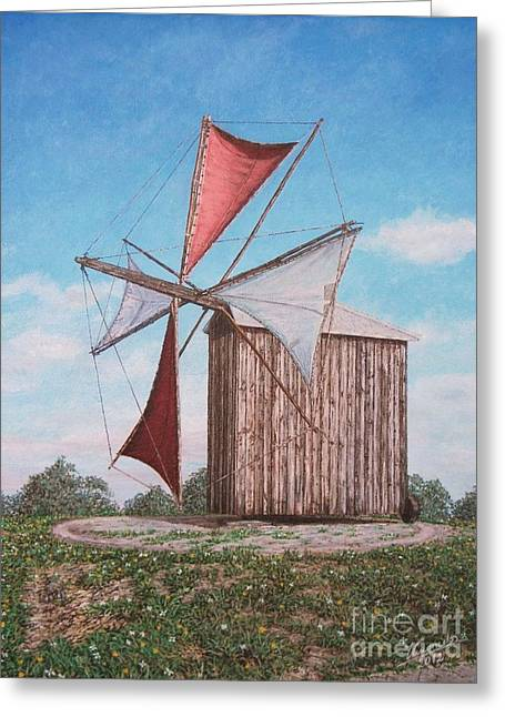 Old Mill Scenes Paintings Greeting Cards - The old wood windmill Greeting Card by Carlos De Vasconcelos Tavares