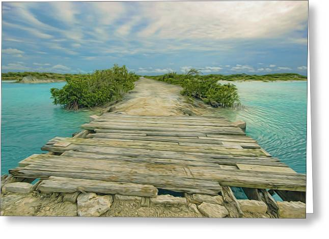 Bamboo House Greeting Cards - The old wooden bridge Greeting Card by Lanjee Chee