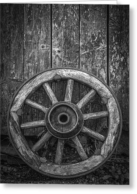 Wagon Wheels Photographs Greeting Cards - The Old Wooden Wheel Greeting Card by Erik Brede