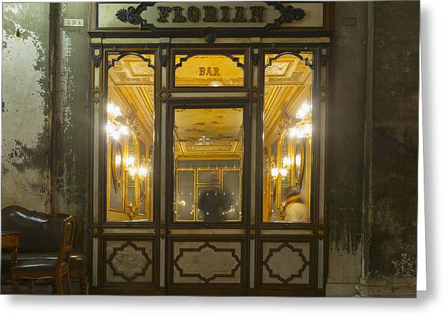 Local Food Places Greeting Cards - The Oldest Italian Cafe In Piazza San Greeting Card by Mats Silvan