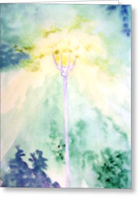 Reminiscent Greeting Cards - The Ole Lamp Light Greeting Card by Sandi Stonebraker