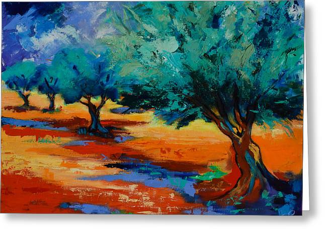 Olives Greeting Cards - The Olive Trees Dance Greeting Card by Elise Palmigiani
