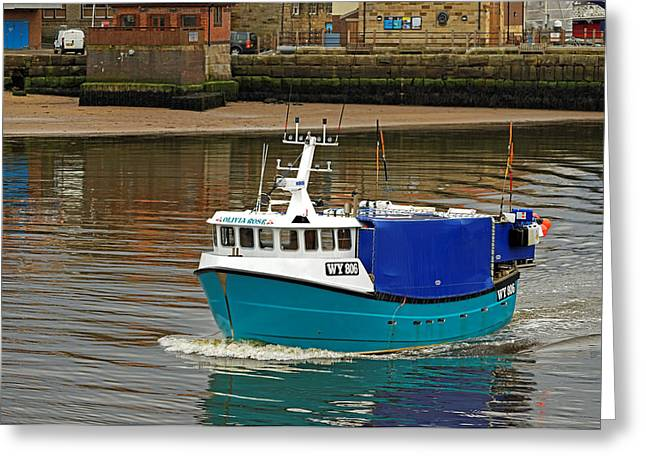 Boats Greeting Cards - The Olivia Rose In Whitby Lower Harbour Greeting Card by Rod Johnson
