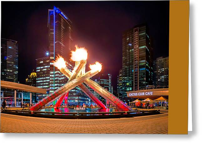 The Olympic Cauldron In Vancouver Greeting Card by Alexis Birkill