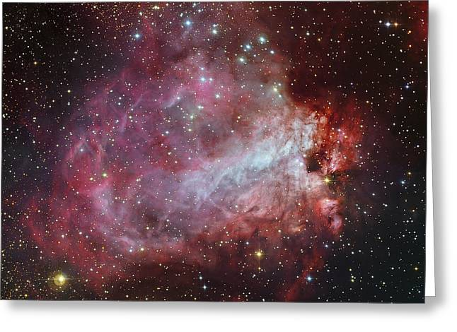 The Omega Nebula In The Constellation Greeting Card by Roberto Colombari