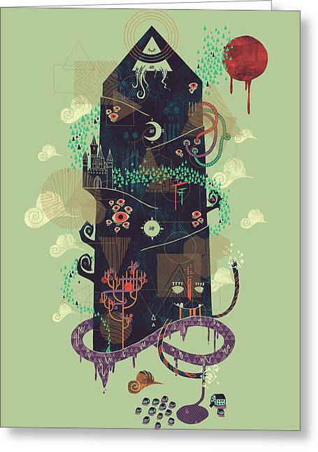 Creepy Digital Art Greeting Cards - The Ominous and Ghastly Mont Noir Greeting Card by Hector Mansilla