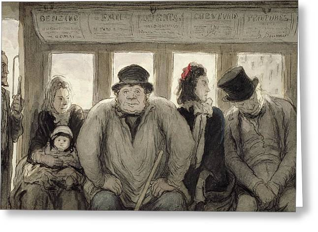Straps Drawings Greeting Cards - The Omnibus Greeting Card by Honore Daumier