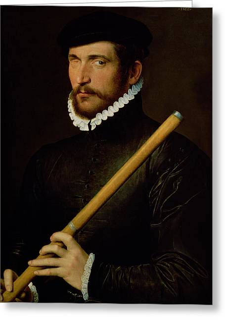 Flutes Greeting Cards - The One-eyed Flautist, 1566 Oil On Panel Greeting Card by French School