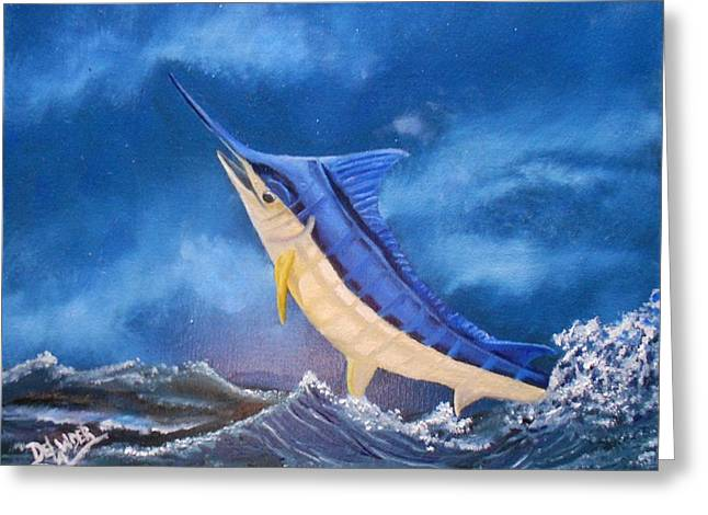 Blue Marlin.white Marlin Greeting Cards - The one that got away Greeting Card by Mary DeLawder