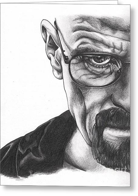 Vince Drawings Greeting Cards - The One Who Knocks  Greeting Card by Lynora Adams