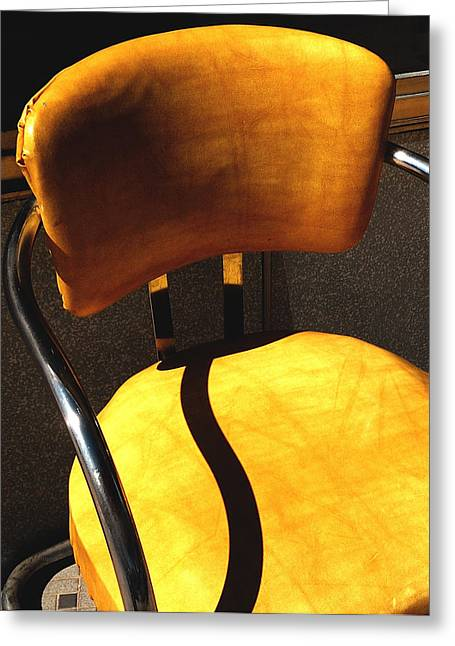 The Only One - Yellow Chair With Shadow Greeting Card by Steven Milner
