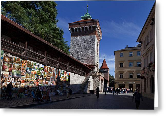 Krakow Greeting Cards - The Open Air Art Gallery Greeting Card by Panoramic Images