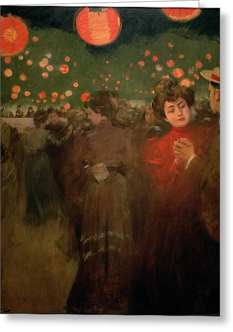 Sweet Touch Greeting Cards - The Open Air Party Greeting Card by Ramon Casas i Carbo
