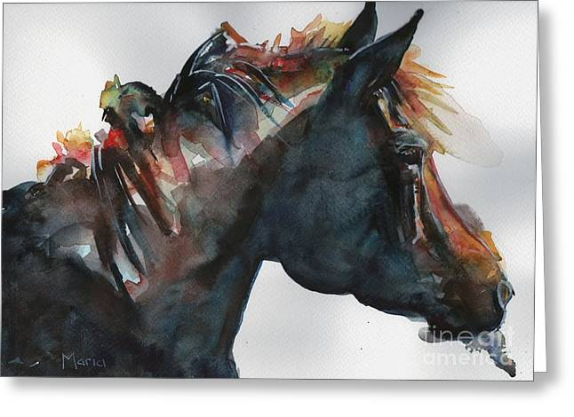 The Horse Greeting Cards - Black Horse painting in watercolor The Open Door Greeting Card by Maria