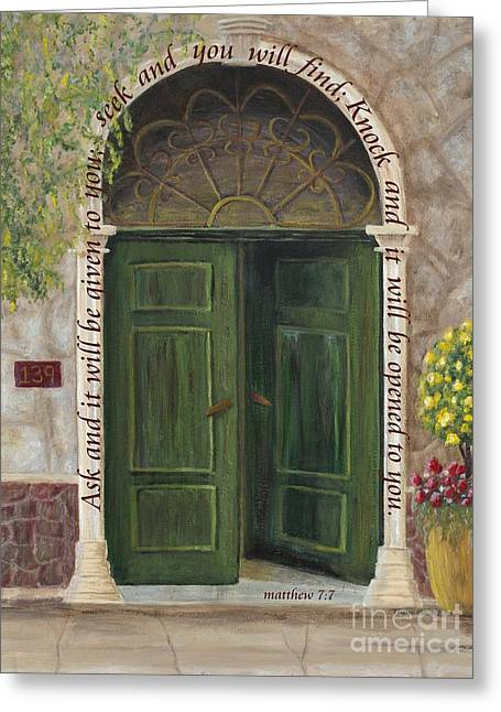 French Open Paintings Greeting Cards - The Open Door w Scripture Greeting Card by Mona Elliott