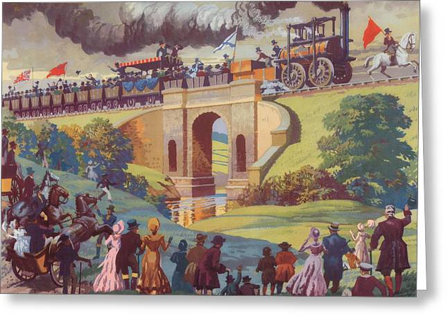 Waving Flag Greeting Cards - The opening of the Stockton and Darlington Railway Macmillan Poster Greeting Card by Norman Howard
