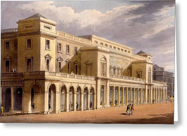 Facades Drawings Greeting Cards - The Opera House, Formerly The Lyceum Greeting Card by Daniel Havell
