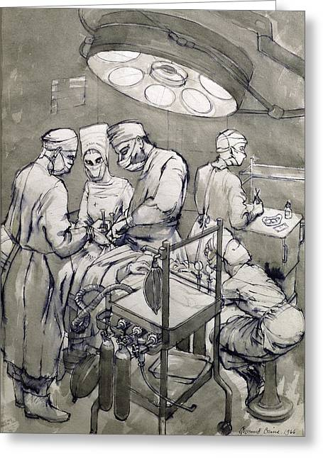 Illness Greeting Cards - The Operation Theatre, 1966 Greeting Card by Osmund Caine