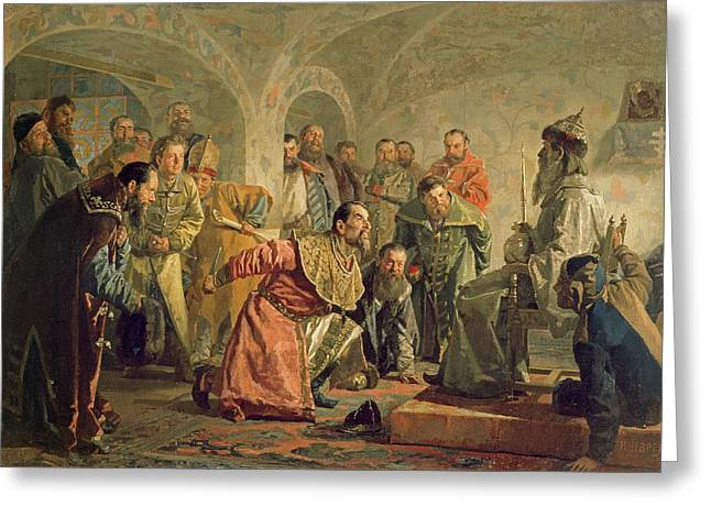 Russian Photographs Greeting Cards - The Oprichnina At The Court Of Ivan Iv 1530-84 Oil On Canvas Greeting Card by Nikolai Vasilievich Nevrev