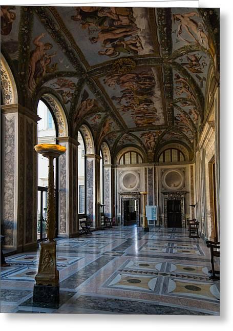 The Opulent Loggia In Villa Farnesina Rome Italy - 1 Greeting Card by Georgia Mizuleva