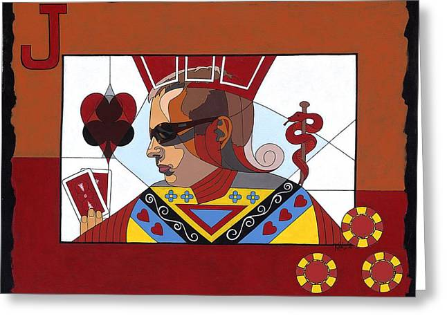 Tribute Art Greeting Cards - The Oracle poker player Greeting Card by Konni Jensen
