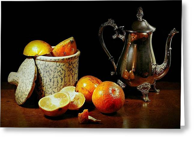 Tea Canister Greeting Cards - The Orange Bowl Greeting Card by Diana Angstadt