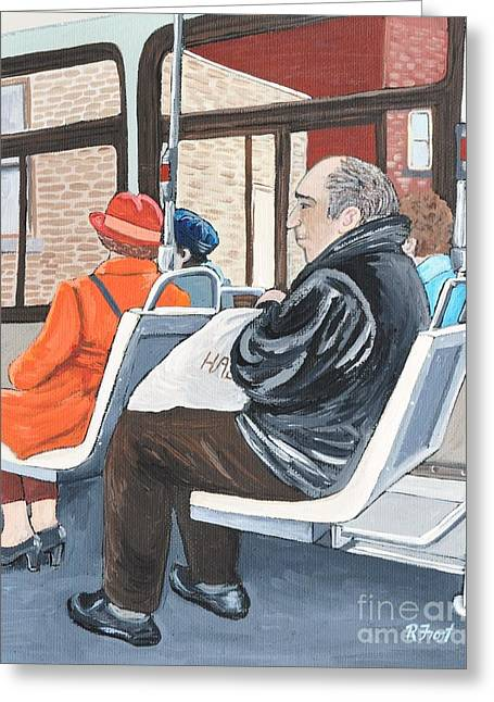 Bus Ride Greeting Cards - The Orange Coat on the 107 Bus Greeting Card by Reb Frost