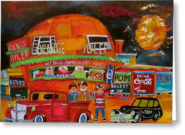 Orange Julep Greeting Cards - The Orange Julep and the 1947s Greeting Card by Michael Litvack