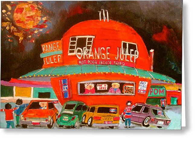 Orange Julep Greeting Cards - The Orange Julep and the Play Offs Greeting Card by Michael Litvack