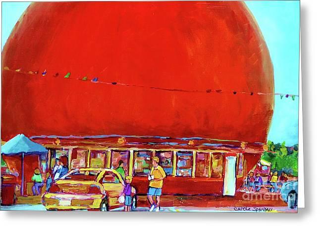 THE ORANGE JULEP MONTREAL SUMMER CITY SCENE Greeting Card by CAROLE SPANDAU