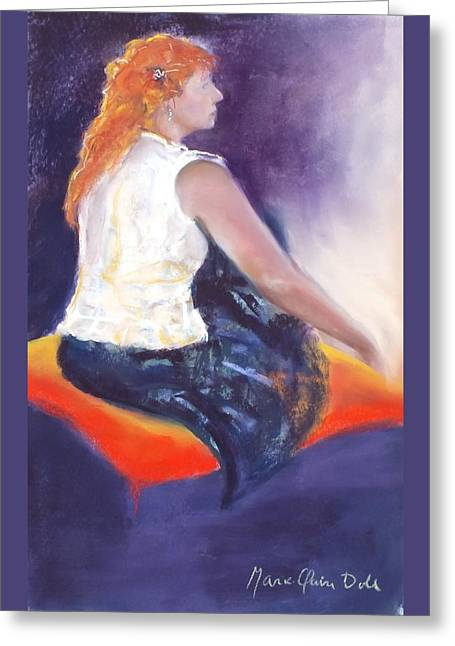 Profile Pastels Greeting Cards - The Orange Pillow Greeting Card by Marie-Claire Dole