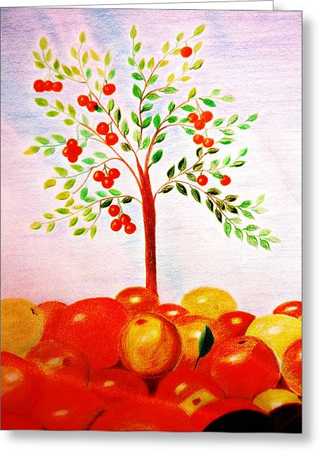 Orchard Drawings Greeting Cards - The orange tree Greeting Card by Jo Ann