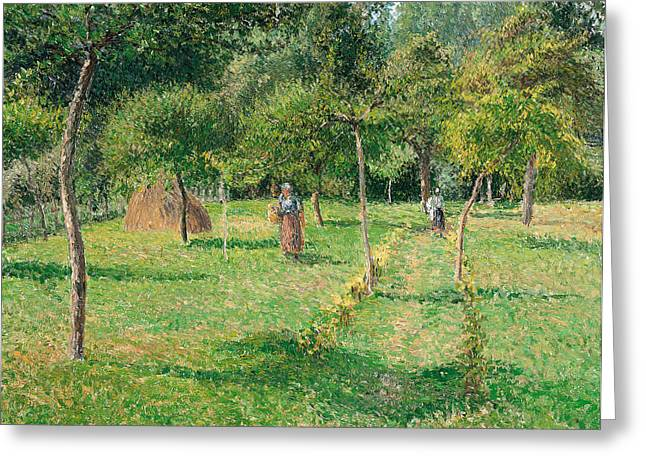Camille Pissarro Greeting Cards - The Orchard at Eragny Greeting Card by Camille Pissarro
