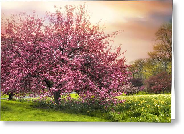 Orchard Digital Art Greeting Cards - The Orchard Greeting Card by Jessica Jenney