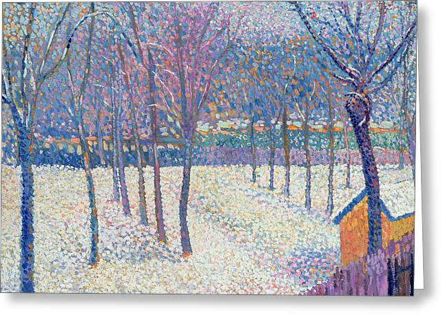 Pointillist Paintings Greeting Cards - The Orchard under the Snow  Greeting Card by Hippolyte Petitjean