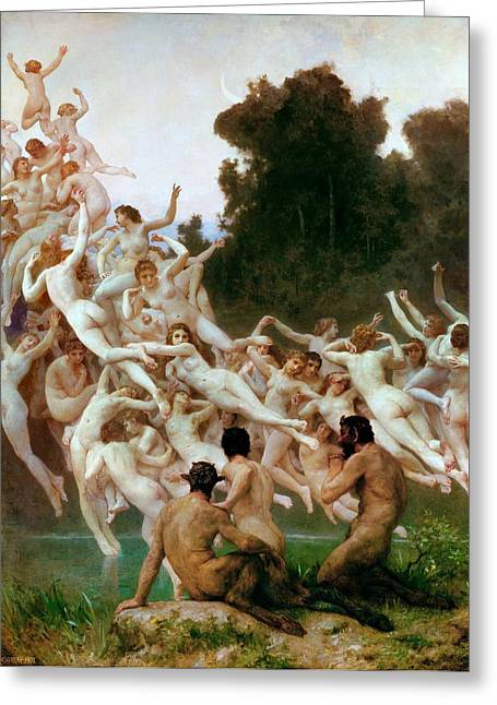 Orestiad Greeting Cards - The Oreads Greeting Card by Adolphe-William Bouguereau