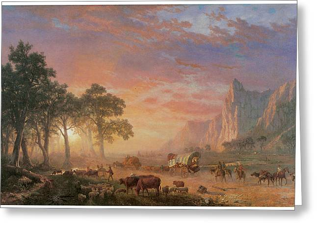 The Oregon Trail Greeting Card by Albert Bierstadt