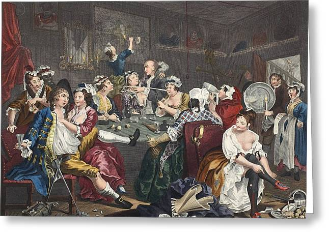 Morality Greeting Cards - The Orgy, Plate Iii From A Rakes Greeting Card by William Hogarth