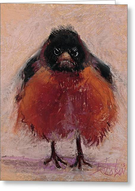 Robin Greeting Cards - The Original Angry Bird Greeting Card by Billie Colson