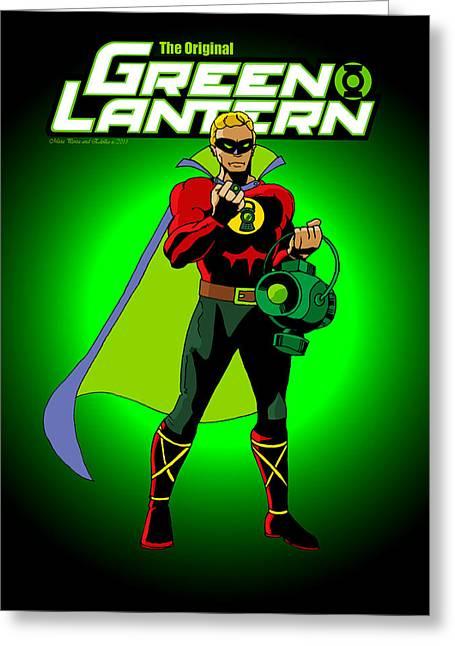 Green Lantern Greeting Cards - The Original Green Lantern Greeting Card by Mista Perez Cartoon Art