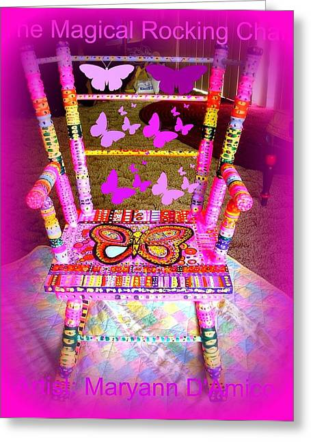 Child Sculptures Greeting Cards - The  Original Magical Rocking Chair Greeting Card by Maryann  DAmico