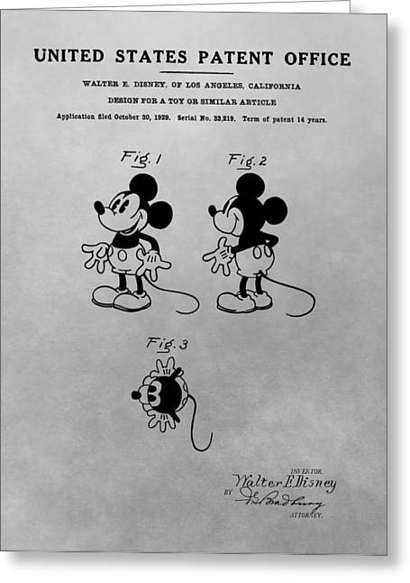 Child Toy Drawings Greeting Cards - The Original Mickey Mouse Patent Design Greeting Card by Dan Sproul